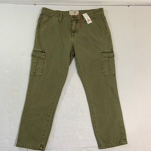 Current Elliot Skinny Boy Cargo Jeans Army NWT 26